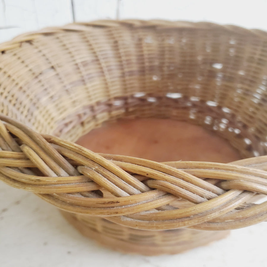 Vintage Woven Clothespin Basket with Wood Bottom