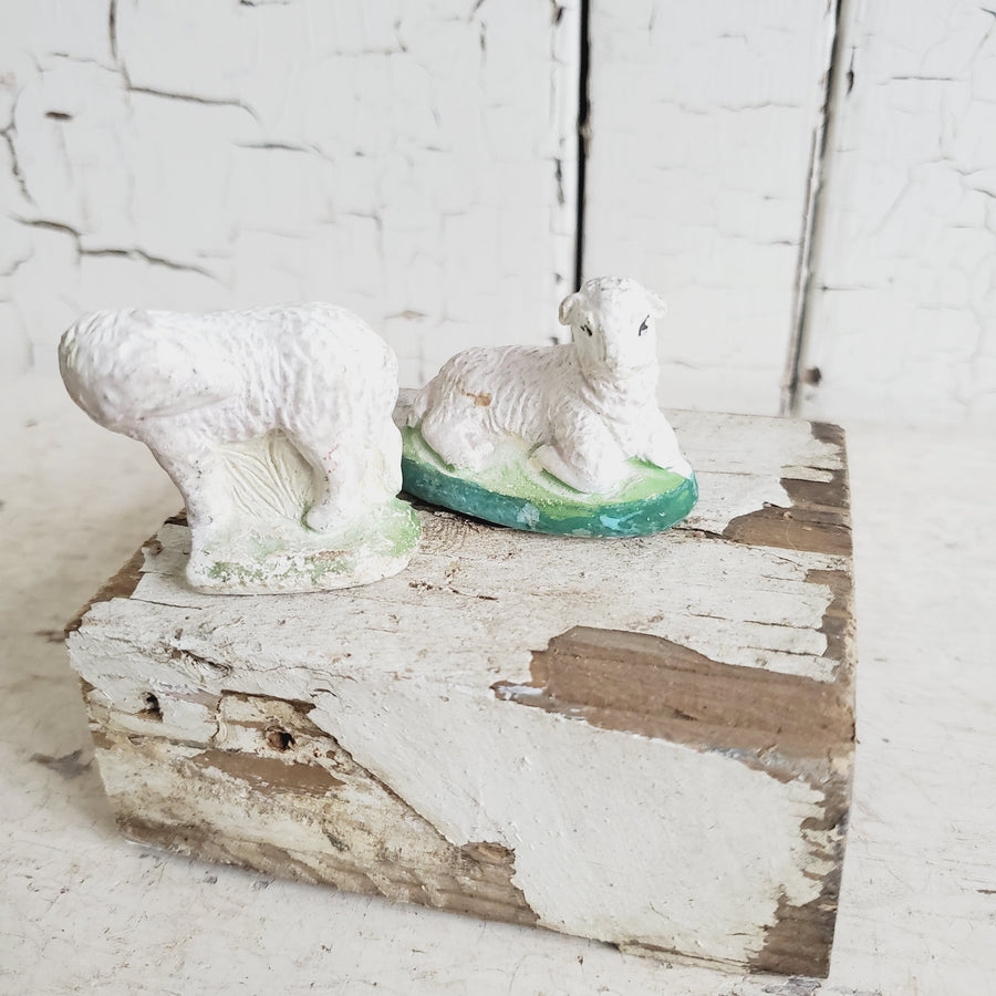 Pair Vintage  Chippy Chalkware Sheep  Figurines