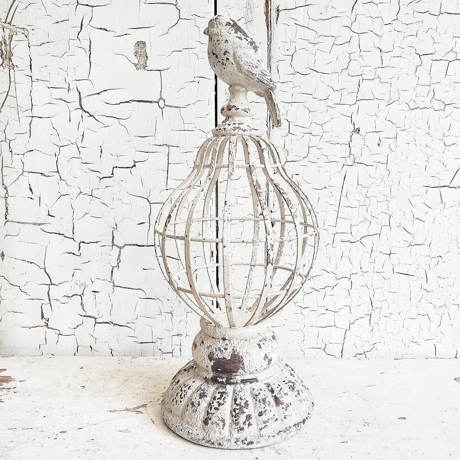 Chippy White Metal Decorative Finial- Short