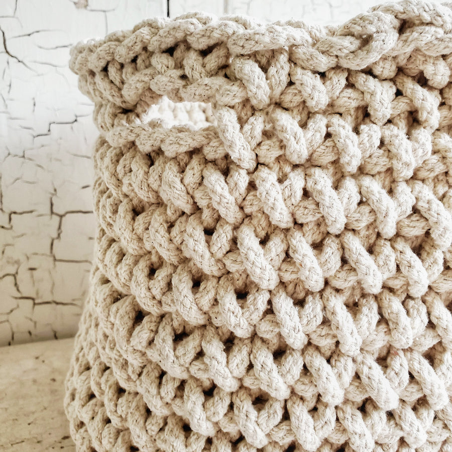 Chunky Natural  Cotton Crochet Basket