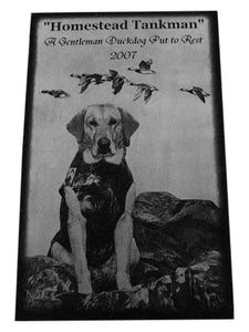 Pet Memorial-Granite Photo Engraved 10 x16 x 2  Custom Made in the USA - A Pet's World