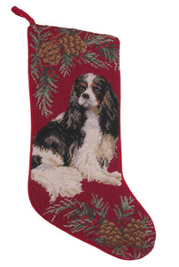 Needlepoint Christmas Dog Breed Stocking -Cavalier King Charles Tri-Color with Pinecone Border - A Pet's World
