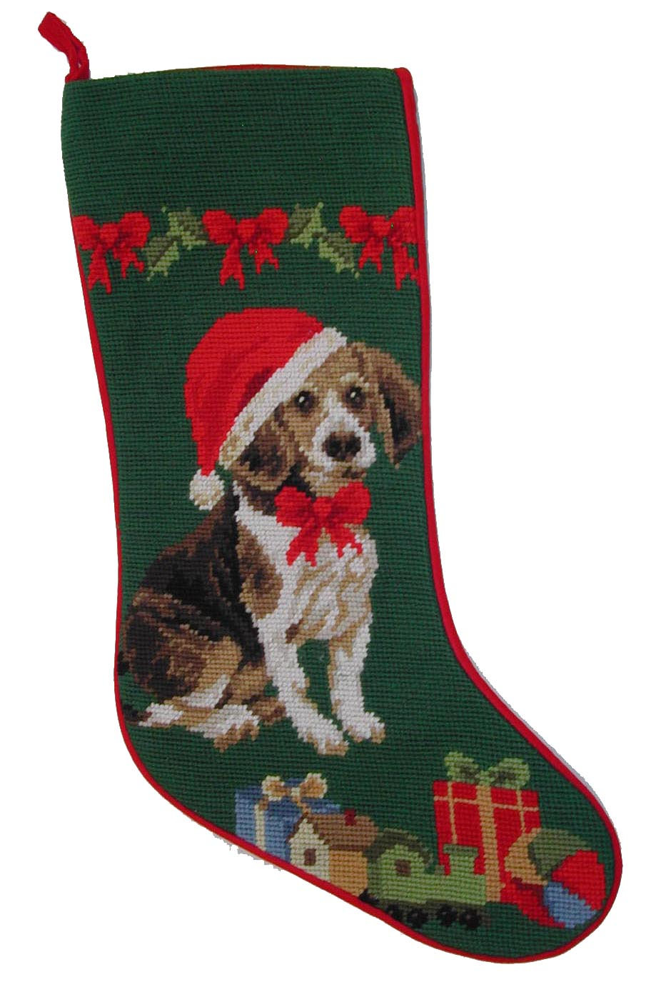 Needlepoint Christmas Dog Breed Stocking -Beagle with Santa Hat - A Pet's World