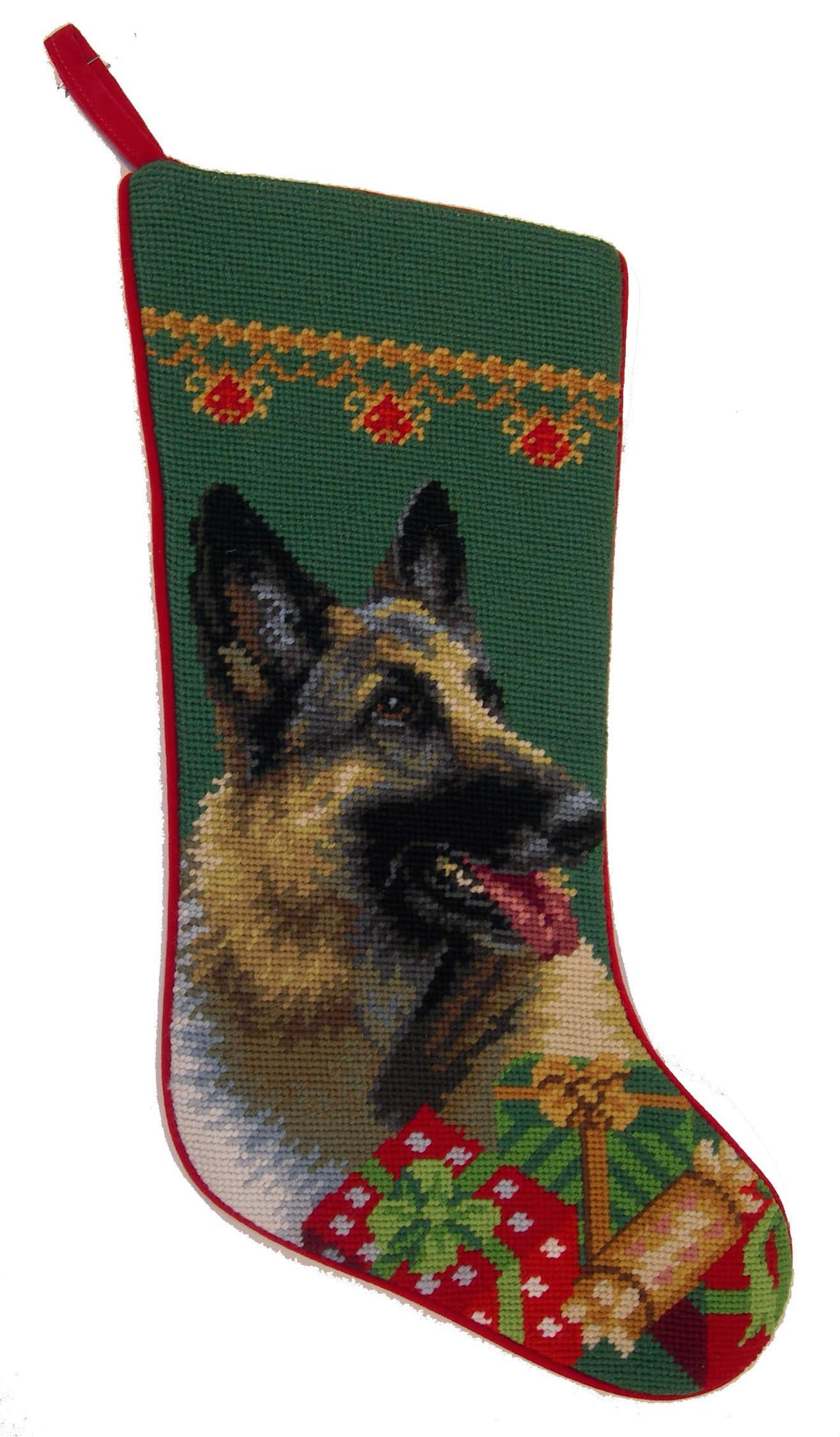 Needlepoint Christmas Dog Breed Stocking - German Shepherd + Presents - A Pet's World