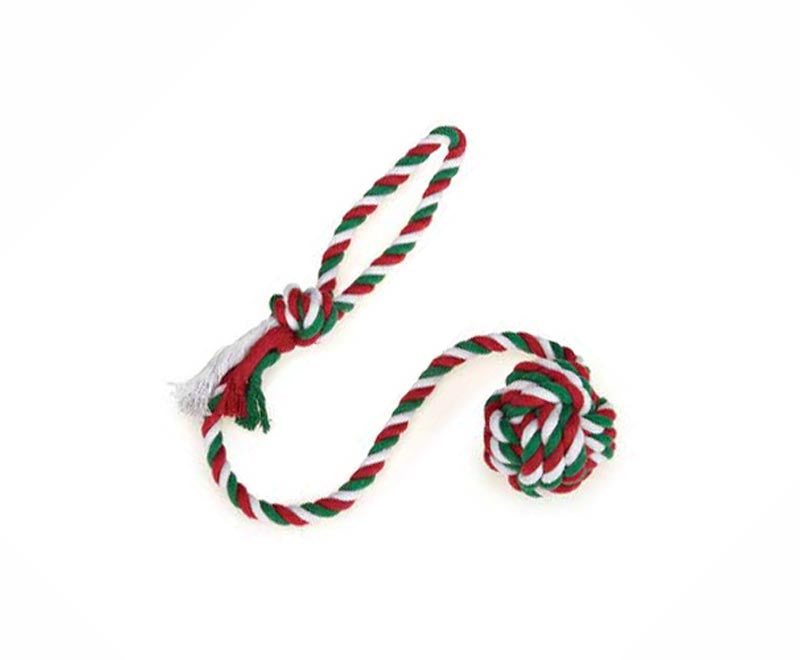 "Dog Toy- 24"" Christmas Holiday Rope + Monkey Fist Toy - A Pet's World"