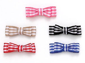 Dog Hair Bows -  Small Double Gingham Flat Bows - A Pet's World