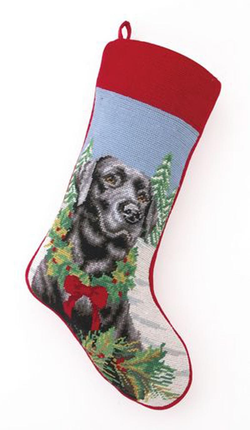 Needlepoint Christmas Dog Breed Stocking - Black Lab with Wreath - A Pet's World