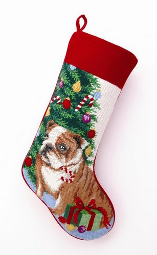 Needlepoint Christmas Dog Breed Stocking - Bulldog + Tree - A Pet's World