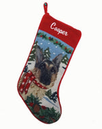 Load image into Gallery viewer, Needlepoint Christmas Dog Breed Stocking - German Shepherd with Scarf - A Pet's World