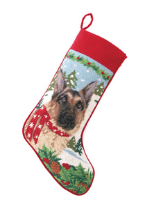 Needlepoint Christmas Dog Breed Stocking - German Shepherd with Scarf - A Pet's World
