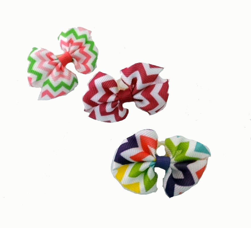 Dog Hair Bows-Chevron Fishtail Bows - A Pet's World