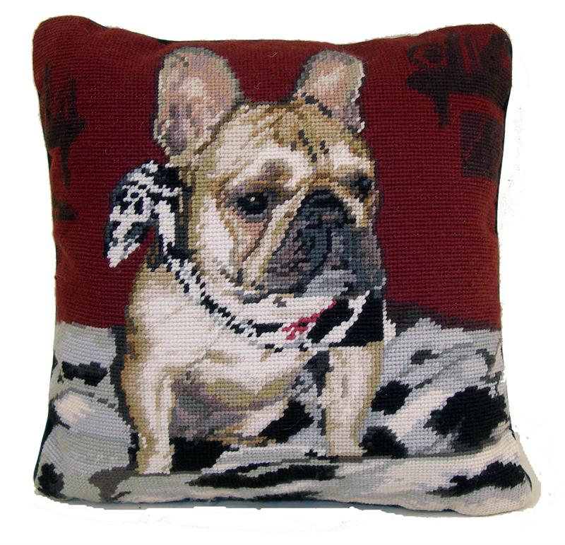 "Needlepoint Pillow - French Bulldog ""Frenchie"" - A Pet's World"