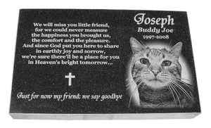 Pet Memorial- 8 X 12 X 2 Photo Engraved Granite USA Made - A Pet's World