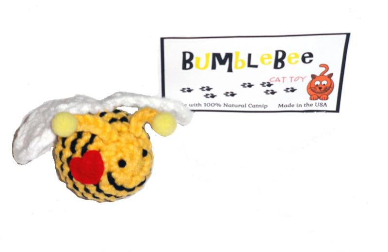 Cat Toy- Hand Crocheted Bumble Bee with Natural Catnip USA Made - A Pet's World