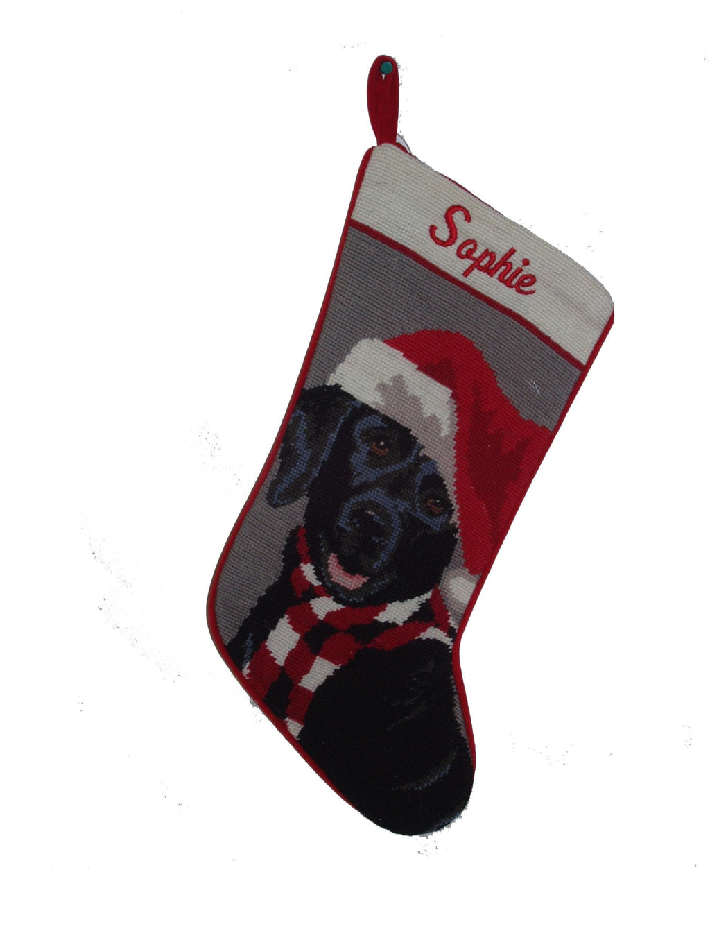 Needlepoint Dog Breed Christmas Stocking - Black Lab with Hat - A Pet's World