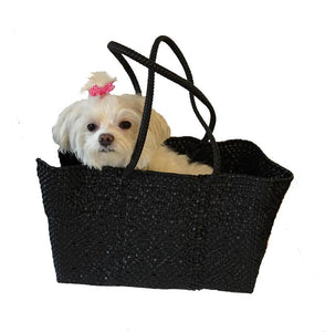 Dog Totes-Handwoven Light Weight Recycled Material-Solid Black - A Pet's World