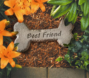 Pet Memorial-Best Friend Bone Memorial Stone - A Pet's World