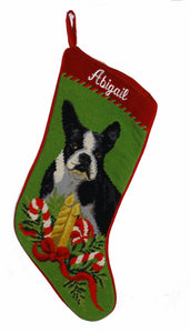 Needlepoint Christmas Dog Breed Stocking -Boston Terrier with Candles - A Pet's World