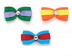 Dog Hair Bows- Bright Double Grosgrain Bows with Rhinestone - A Pet's World