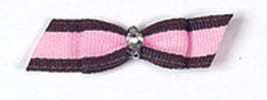 Dog Hair Bows-Brown + Pink Stripe Rhinestone Bow - A Pet's World
