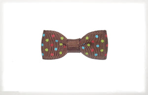Dog Hair Bow -  Brown Triple Dot - A Pet's World
