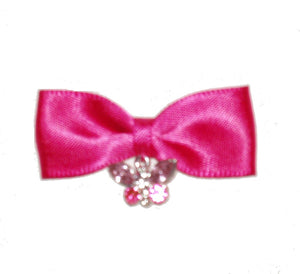 Dog Hair Bow- Pink Butterfly Charm - A Pet's World