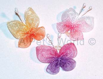 Dog Hair Accessories- Butterflies with Elastic Grooming Bands - A Pet's World
