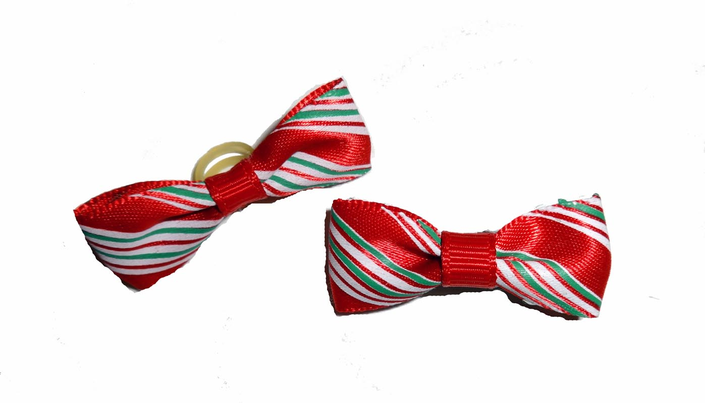 Dog Hair Bows-Candy Cane Stripe Bow Ties - A Pet's World