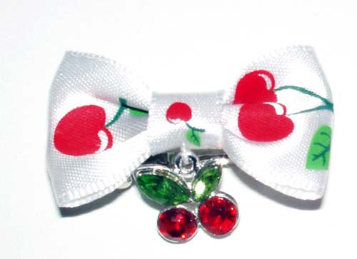 Dog Hair Bow- Cherry Charm Barrette - A Pet's World