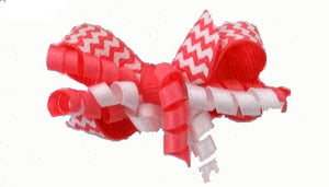 Dog Hair Accessories- Hot Pink + White Chevron Party Bow - A Pet's World