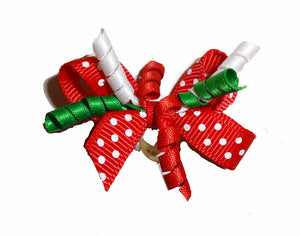 Dog Hair Accessories-Christmas Polka Dot Party Bow - A Pet's World