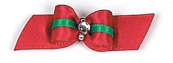 Dog Hair Bows-Christmas Stripe Rhinestone Starched Show Bow - A Pet's World