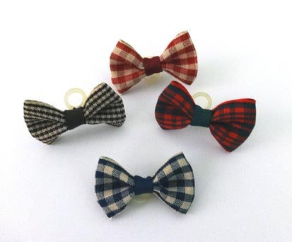 Dog Hair Bows - Country Checks with Elastics - A Pet's World