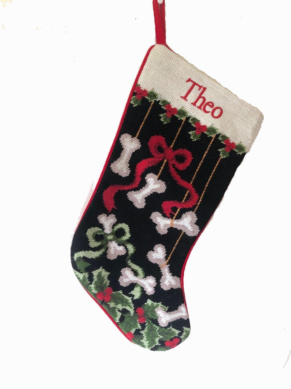 Needlepoint dog bone stocking with Block Font Name