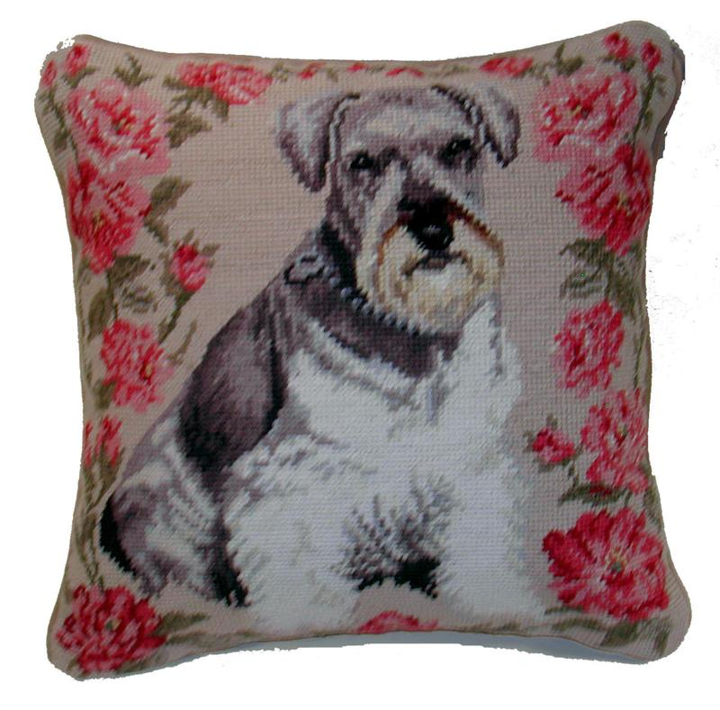 Needlepoint Pillow-Schnauzer - A Pet's World
