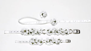 Embellished White Ribbon Dog Collars with Petal Flowers and Pearls - A Pet's World