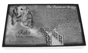 Pet Memorial-Rainbow Bridge Granite Photo Engraved 10 x 16 x 2 - A Pet's World