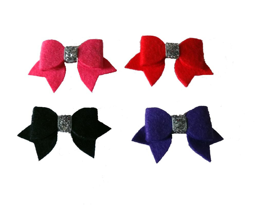 Felt hair bows with glitter center and tails barrettes