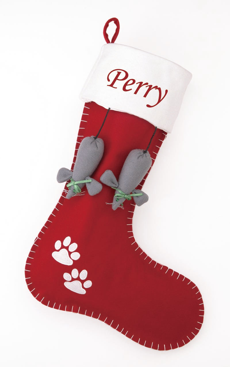 Christmas Cat Stocking Red + White Felt with Dangling Mice - A Pet's World