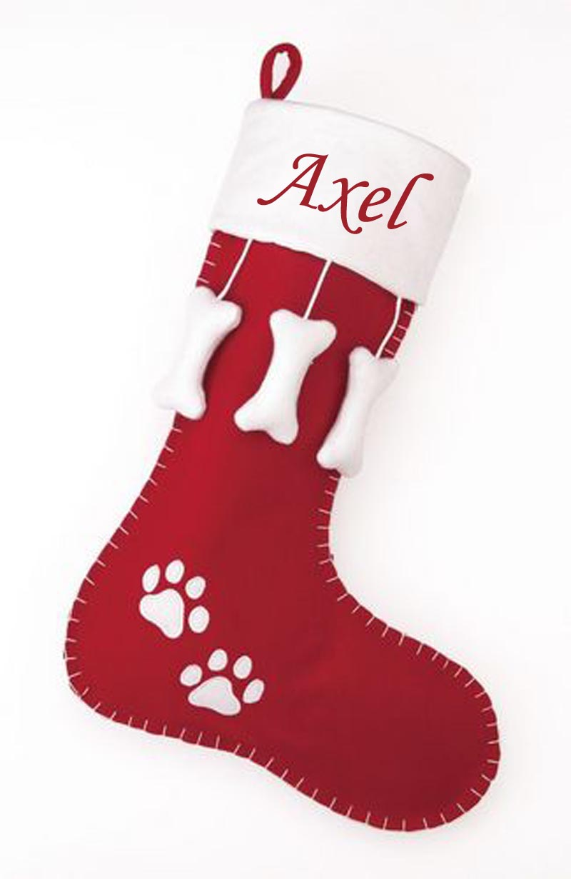 Christmas Dog Stocking Red + White Felt with Dangling Dog Bones - A Pet's World