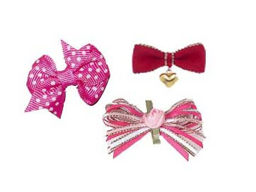 Dog Hair Bows- Group of Three Girl Barrettes - A Pet's World