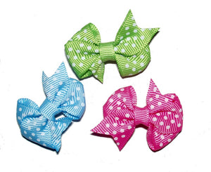 Dog Hair Bows-Fishtail Polka Dots - A Pet's World