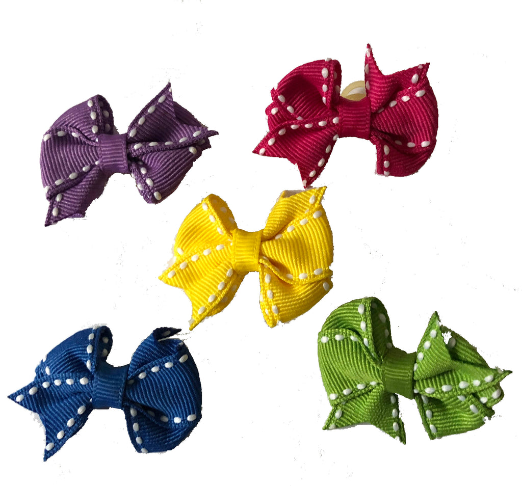 Dog Hair Bows-Fishtail Saddle Stitch Grooming Bands - A Pet's World
