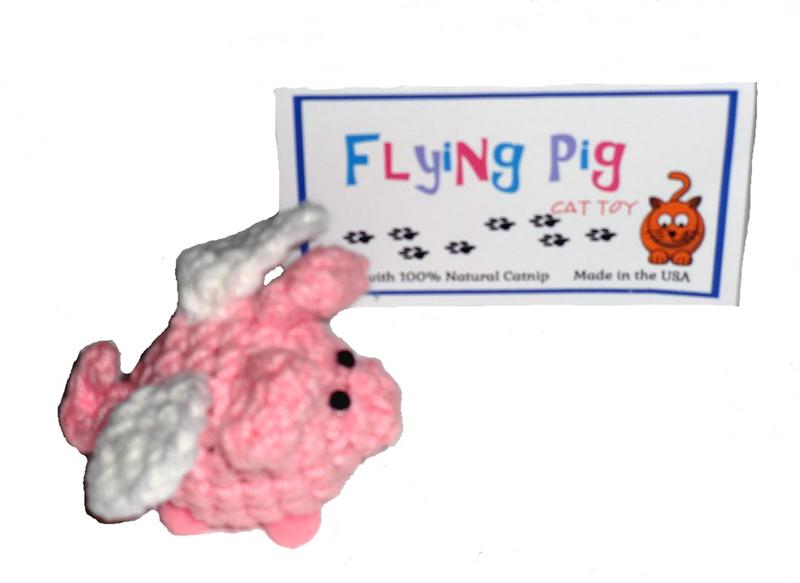 Cat Toys-Flying Pig Natural Catnip Jingle Toy USA Made - A Pet's World