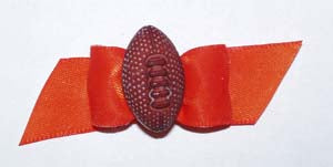 Dog Hair Accessory- Football Starched Orange Showbow - A Pet's World