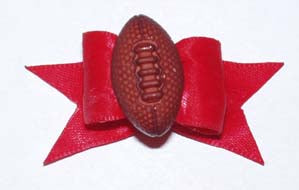 Dog Hair Accessory- Football Starched Red Show Bow - A Pet's World