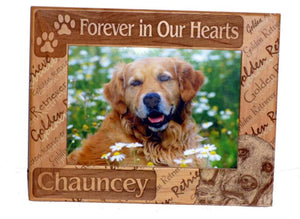 Personalized Forever in Our Hearts Dog Breed 5 X 7 Frame - A Pet's World