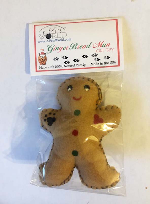 Cat Toy - Gingerbread Man with Catnip USA Made - A Pet's World