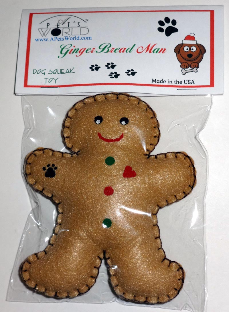 Dog Toy-Gingerbread Man with Squeaker - A Pet's World