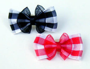 Dog Hair Bows - Gingham Organza - A Pet's World